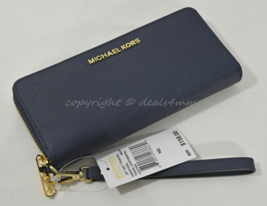 Michael Kors Jet Set Travel Continental Saffiano Leather Wallet in Navy ... - £112.67 GBP