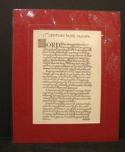 17th Century Nun's Prayer Calligraphy Matted from Ireland - $11.99