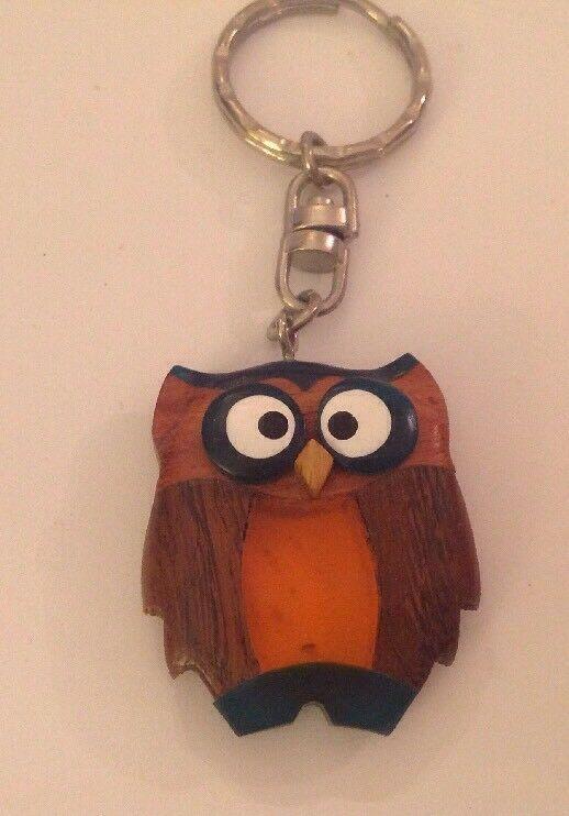 Owl Keychain Inlaid Wood Resin Figural Bird Brown Green Amber Key Ring