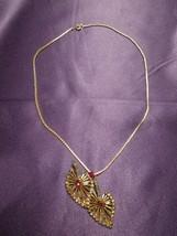 Phyllis 12K Gold Filled Pendant Pin Rhinestone Necklace Vintage Designer... - $64.35