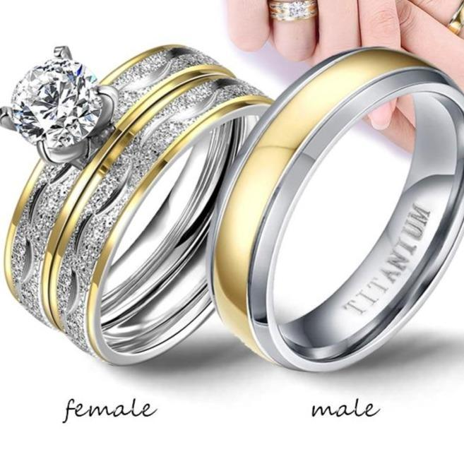 Men exquisite rhinestones zirconia rings set simple stainless steel men ring fashion jewelry for