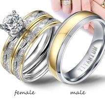 Couple Rings - Women Exquisite Rhinestones Zirconia Rings Set Simple Stainless S image 1