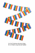 Rainbow Gay Pride 4x6 Inch Bunting Party Flags Banner (24 Flags 10 Meter... - £14.09 GBP