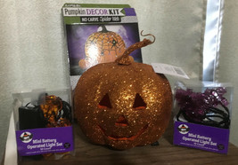 Halloween Decorations Bundle Lot prop bat jack o lantern pumpkin lights ... - $3.99