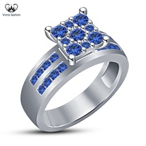 Solitaire With Accents Ring Blue Sapphire 14k White Gold Plated Pure 925... - $79.64