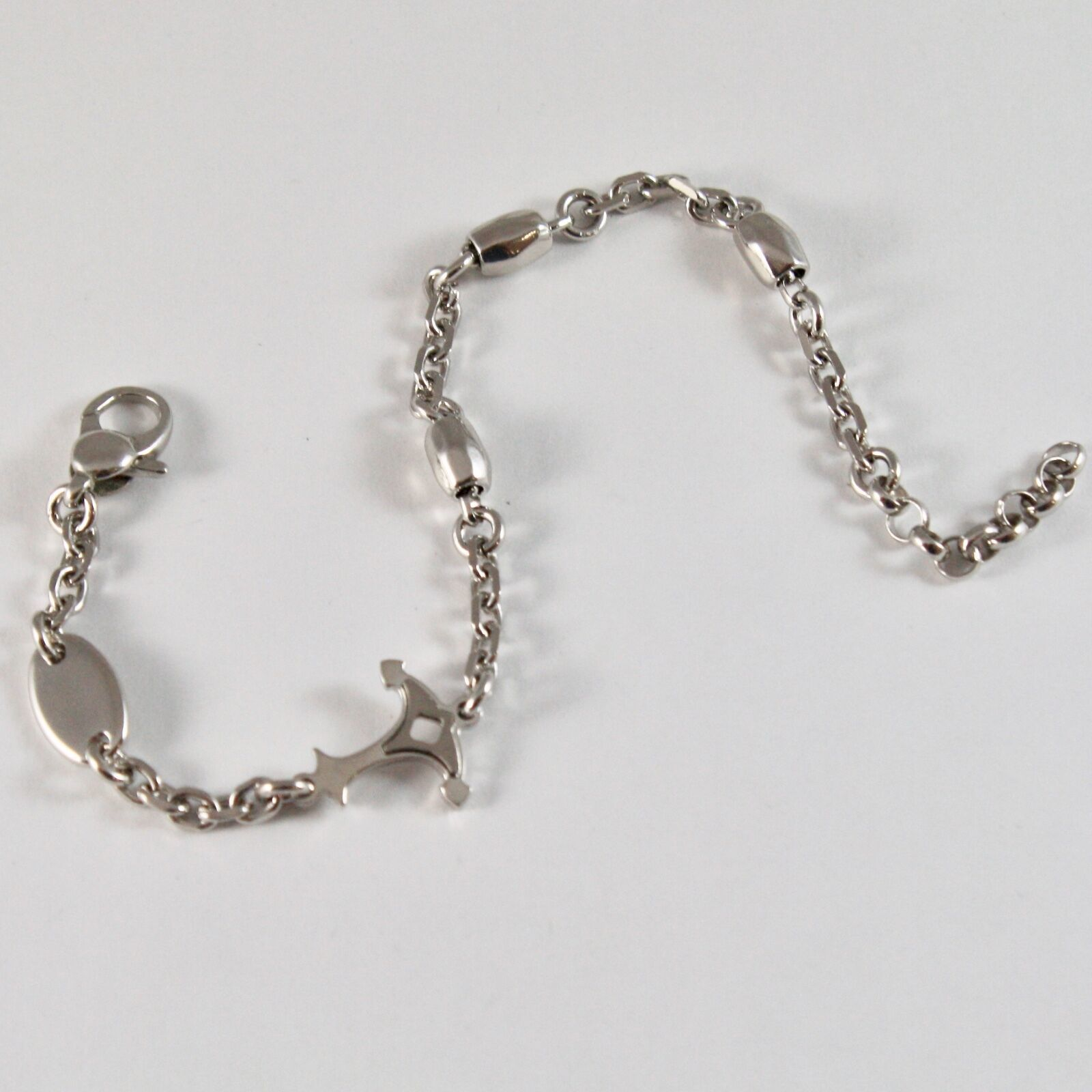 Silver 925 Bracelet Rhodium Adjustable with Anchor Shaped & Shiny Satin