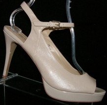 Nine West 'Clementin' nude peep toe man made ankle strap platform heel 10M - $24.36