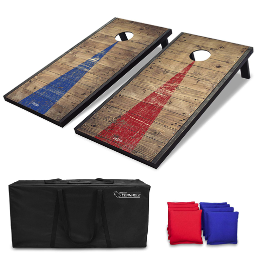 Cornhole Set Regulation Size 8 Bean Bags Travel Case Game Rules Good Weather Fun