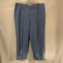 Talbots Womens 12W Capri Pants Light Blue Cotton Cuffed Bottoms  - $11.98