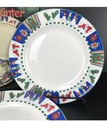 Set of 4 WELCOME WINTER  Stoneware Dinner Plates Ro Gregg NIB  - $39.59