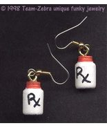 Mini Rx MEDICINE PILL ASPIRIN BOTTLE EARRINGS Nurse Doctor Medical Charm... - $6.97