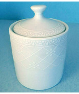 Royal Doulton English Elegance White Covered Sugar Bowl Embossed Lattice... - $41.90