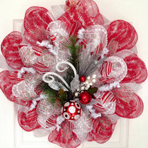 Red, Silver, White Raz Ornament Spray Holiday Handmade Deco Mesh Wreath - $89.99