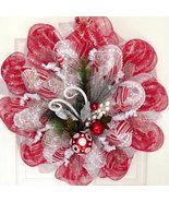 Red, Silver, White Raz Ornament Spray Holiday Handmade Deco Mesh Wreath - $89.99