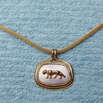 H75 John Medeiros XIII Gold Mesh Panther Pendant Necklace Vintage 00s Eg... - $89.07