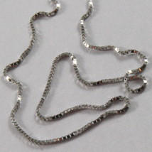 18K WHITE GOLD CHAIN NECKLACE 0.5 mm MINI VENETIAN LINK 15.75 40CM MADE IN ITALY image 2