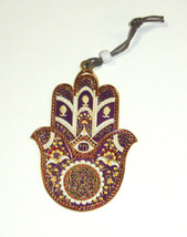 Judaica Kabbalah Hamsa Gold Plated Red Purple Enamel Wall Hang Evil Eye Hai image 2