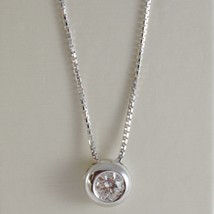 18K WHITE GOLD NECKLACE WITH DIAMOND 0.25 CARATS, VENETIAN CHAIN MADE IN ITALY image 1