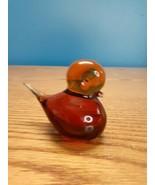 Vintage Art Glass Amber Bird Paperweight decor figurine  - $18.76