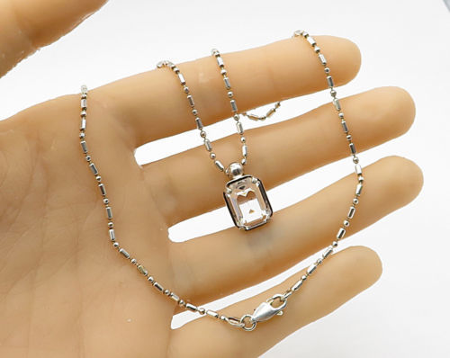 ITALY 925 Silver - Vintage Setting Topaz Pendant & Chain - N1474