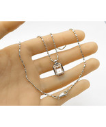 ITALY 925 Silver - Vintage Setting Topaz Pendant & Chain - N1474 - $43.20