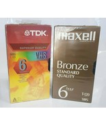 Lot of 6 Still Sealed Blank VHS Tapes Various Brands Maxell and TDK - $14.03