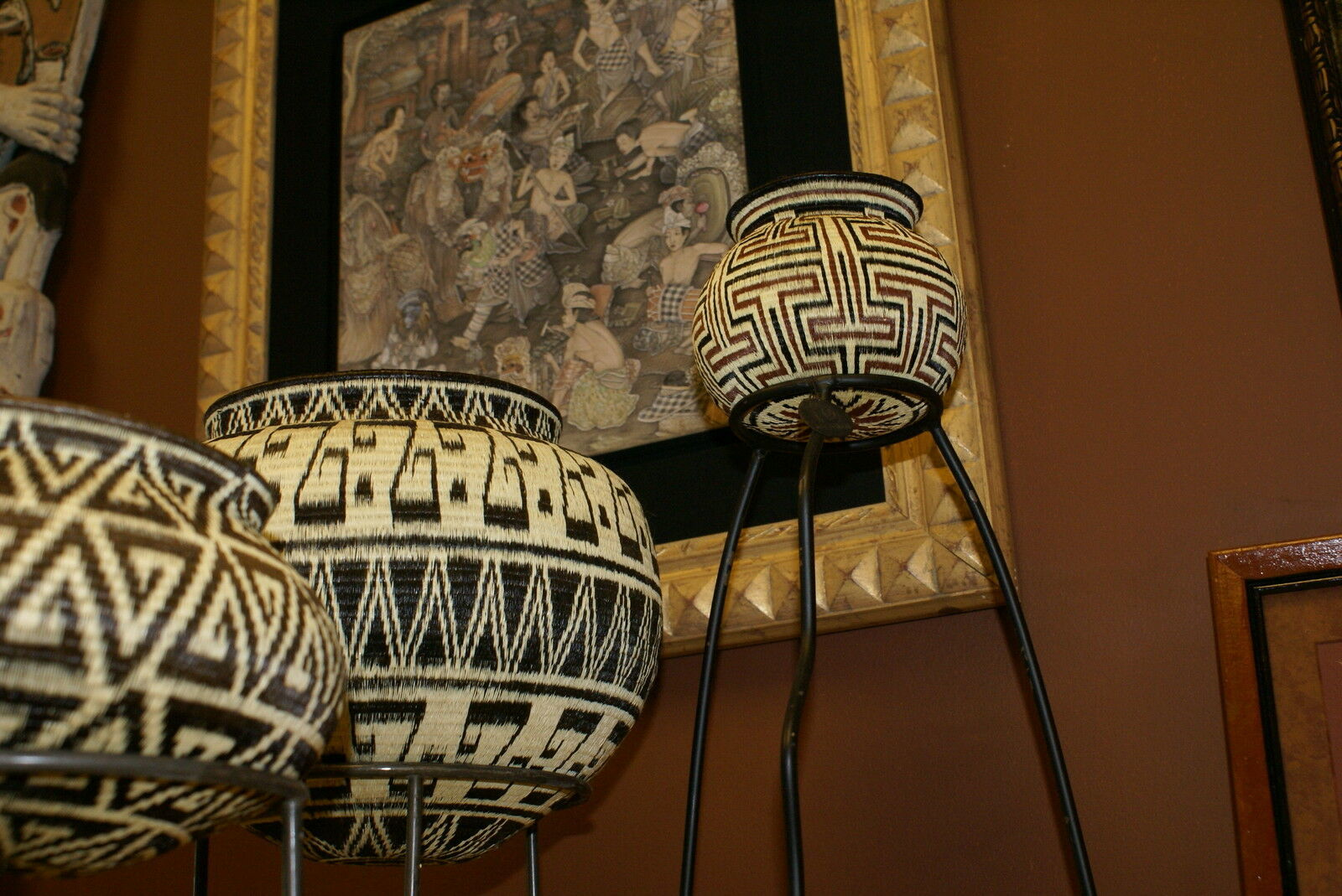 Authentic Museum Darien Wounaan Indian Hösig Di Geometric Artist Basket 300A21 -