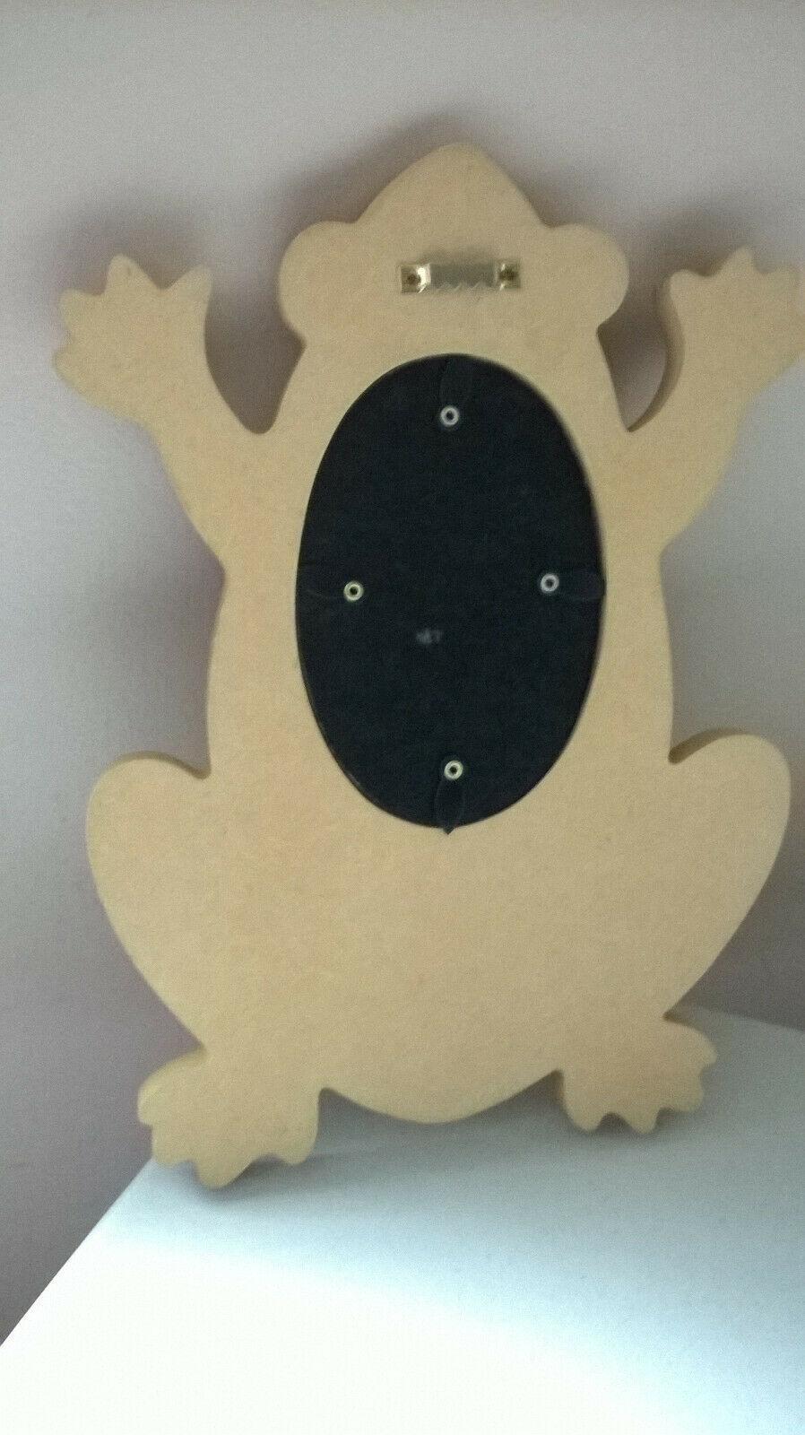 """SONOMA WOODEN FROG WALL FRAME W/HANGING COAT, ETC. HOOK 11.25"""" FITS 3.5x5 PHOTO - $9.89"""