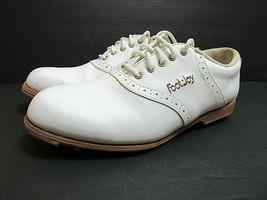 FootJoy GreenJoys Womens 8 1/2  8.5 Off White Vegan Leather Golf Shoes 48717 - $39.05
