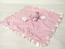 Baby Starters Lovey Blanket Pink Bear 16x16 Hugs Kisses Dot Rattle Satin Trim - $17.79