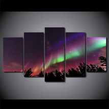 5 Pcs Aurora Purple Starry Sky Wall Picture Home Decor Printed Canvas Pa... - $45.99+