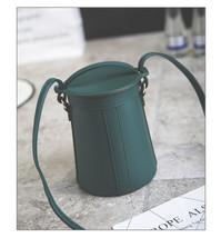 Personalized bucket solid bag women handbag Fashion PU leather Vintage Crossbody - $32.62