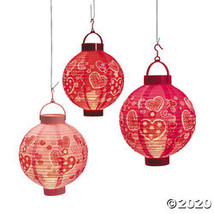 Valentine Hearts Light-Up Hanging Paper Lanterns - £13.59 GBP