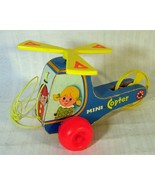 Vintage 1970 Fisher Price Mini Copter #448 Wooden Helicopter Pull Toy - $16.82