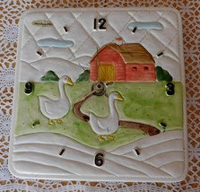 Vintage OCM OTAGIRI Ceramic Country Goose Clock Japan 1982 - $85.00