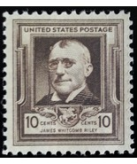 1940 10c James Whitcomb Riley, American Writer Scott 868 Mint F/VF NH - $1.98