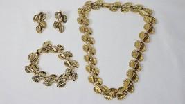 Vintage Gold Tone Fashion Costume Leaf Link Necklace Bracelet & Post Ear... - $29.69