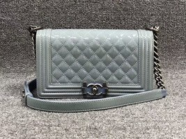 Authentic Chanel Quilted Patent SKY BLUE RARE MEDIUM Boy Flap Bag