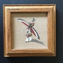 """Navajo Eagle Dancer 5 3/8"""" Sand Painting Framed Signed L Sandman Native ... - $35.00"""