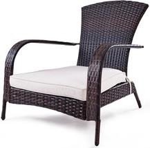 Outdoor Rattan Adirondack Chair Garden Balcony Porch Deck Wicker Seat w/... - $144.40