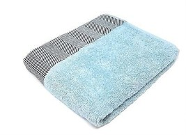 3 Pce Striped 100% Combed Cotton Herringbone Duck Egg Blue Hand Bath Sheet Towel - $45.16