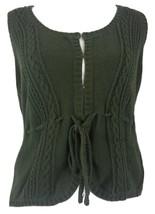 Ann Taylor LOFT Womens Sweater Vest Sleeveless Tie Waist Cable Casual sz L - $14.99