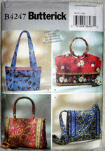 Butterick 4247 Four Shape Size Soft Handbags Tote Bags Quilted Sewing Pa... - $10.00