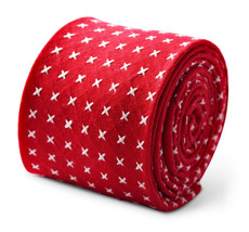 Frederick Thomas  red cotton men's tie with white cross design FT3356