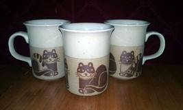Set of 3 Handmade Otagiri Original Stoneware Three Cat Mugs - $39.59