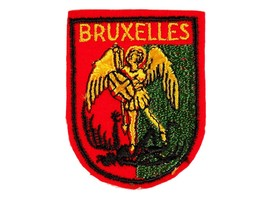 FREE SHIP: Vintage Brussels Bruxelles Sew-on Fabric Patch International ... - $13.10