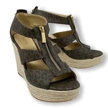 Michael Kors Women's 8 Wedge Sandal Damita Logo Zipper Authentic Open Toe - $104.76