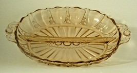 """Vintage Pink Oyster And Pearl 2-PART Relish Dish By Anchor Hocking 12"""" - $9.99"""