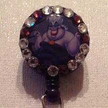 Ursula Badge Reel Id Holder Disney Swarovski Crystal Alligator Clip Hand... - $10.99