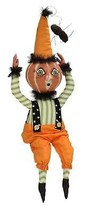 """28"""" Gathered Traditions Frightened Ike the Pumpkin Guy Decorative Hallow... - $67.31"""